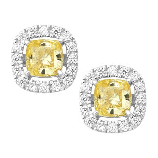 La Preciosa Sterling Silver Yellow and White Cubic Zirconia Square Stud Earrings