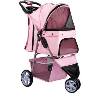 OxGord 3-wheel Pet Stroller (Option: Pink)