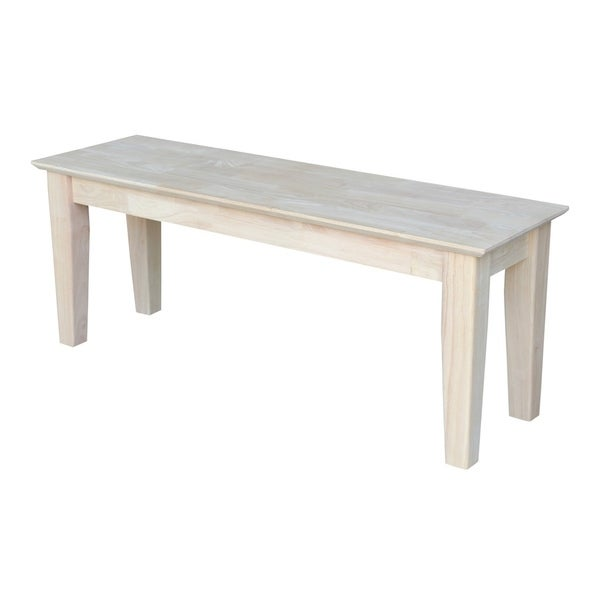 Unfinished 48 Inch Solid Parawood Shaker Style Bench