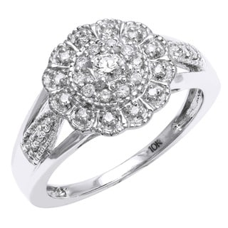 Beverly Hills Charm 10k White Gold 1/3ct TDW Diamond Flower Milgrain Ring