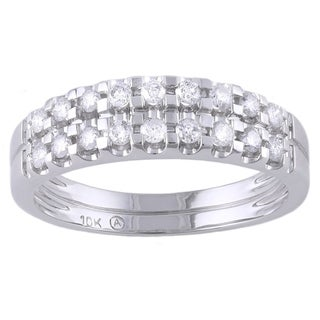 Beverly Hills Charm 10k White Gold 2/5ct TDW Diamond Double Row Band Ring (H-I, I2-I3)