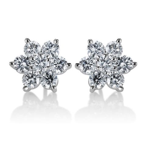 SummerRose 14k White Gold 2ct TDW Diamond Flower Stud Earrings