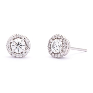 SummerRose 14k White Gold 3/4ct TDW Halo Diamond Stud Earrings (G-H, SI1-SI2)