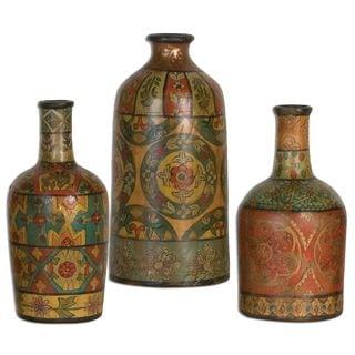 Uttermost Sachi Hand-painted Terracotta Vases (Set of 3)