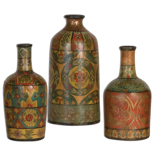 Uttermost Sachi Hand-painted Terracotta Vases (Set of 3)