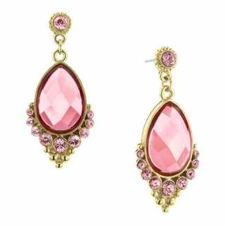 1928 Goldtone Pink Pear-cut Crystal Extravagant Dangle Earrings