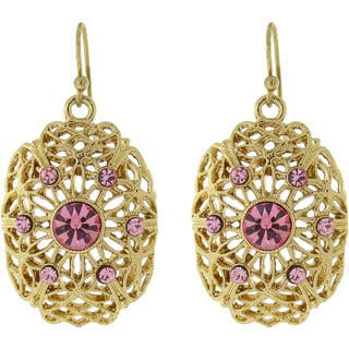 1928 Jewelry Goldtone Pink Crystal Dangle Earrings