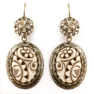 Sweet Romance Ivorine Floral Ovals Earrings