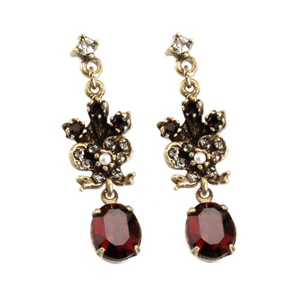 Sweet Romance Victorian Garnet Vintage Ruby Earrings