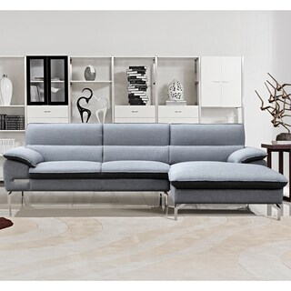 Cynthia Grey Fabric Contemporary Sectional Sofa Set