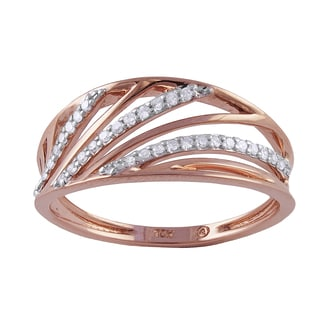 Beverly Hills Charm 10k Rose Gold 1/8ct TDW Diamond Multi-row Ring