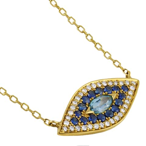 14k Gold Evil Eye Necklace with 4/5 ct. Diamonds and Gemstones by Beverly Hills Charm