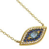 14k Gold 4/5ct TW Diamond AND Gemstone Evil Eye Charm Necklace