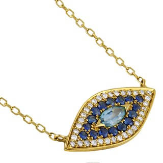 14k Gold 1/6ct TDW Diamond/ Gemstone Evil Eye Charm Necklace (H-I, I2-I3)