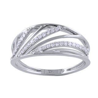 Beverly Hills Charm 10k White Gold 1/8ct TDW Diamond Multi-row Ring