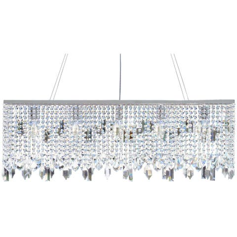 40 Inch Chrome Crystal Chandelier - 40 Inches - 40 Inches