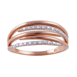 Beverly Hills Charm 10k Rose Gold Diamond Accent Multi-row Promise Ring (H-I, I2-I3)