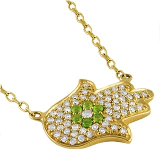 Beverly Hills Charm 14k Yellow Gold 1/4ct TDW Diamond and Chrome Diopside Hamsa Necklace (H-I, I2-I3)