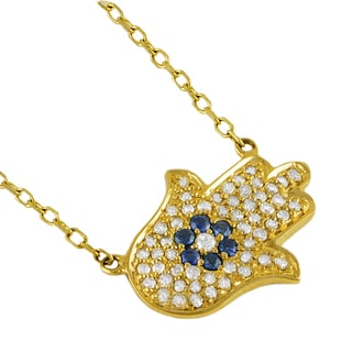 Beverly Hills Charm 14k Yellow Gold 1/4ct TDW Diamond and Blue Sapphire Hamsa Necklace (H-I, I2-I3)