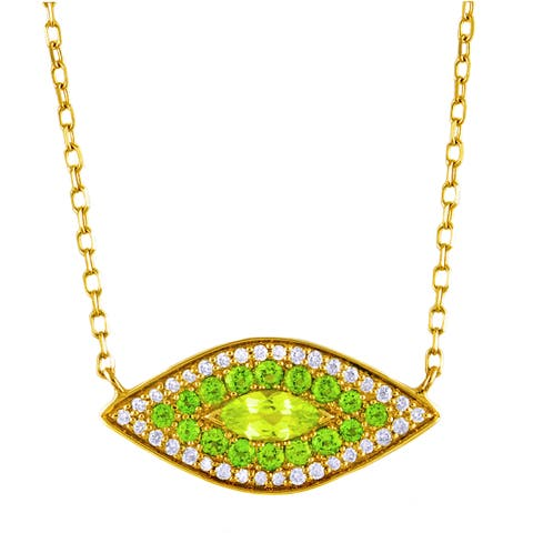 14k Yellow Gold 1/6ct TDW Diamond Peridot and Chrome Diopside 'Evil Eye' Necklace by Beverly Hills Charm