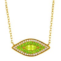 14k Yellow Gold 1/6ct TDW Diamond Peridot and Chrome Diopside 'Evil Eye' Necklace (H-I, I2-I3)