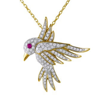 Beverly Hills Charm 14k Yellow Gold Pink Sapphire and 1/3ct TDW Diamond Hovering Bird Necklace (H-I, I2-I3)