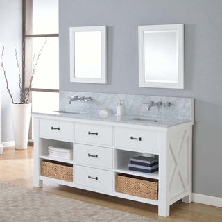 Direct Vanity 70-inch Xtraordinary Spa Premium Pearl White Double Vanity Sink Cabinet