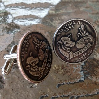 Handmade Men's Wisconsin State Quarter Cuff Links