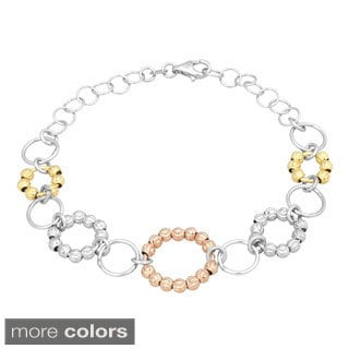 La Preciosa Sterling Silver Two-tone Diamond-cut Moonbeads Circle Link Bracelet