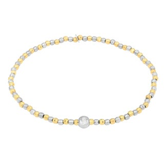 La Preciosa Sterling Silver Two-tone Diamond-cut Beaded Stretch Bracelet