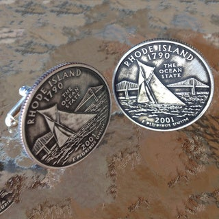 Handmade Men's Rhode Island State Quarter Cuff Links