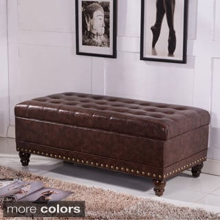 Elegant Luxury Comfort Collection Classic Tufted Storage Bench Ottoman With  Nailhead Trim