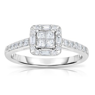 Eloquence 14k White Gold 1/2ct TDW Mixed Baguette and Princess-cut Diamond Ring