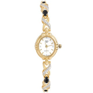 JWI Women's Brass Diamond Accent and Gemstone Watch