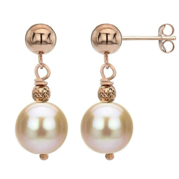 Davonna 14k Rose Gold Pink Freshwater Pearl Dangle Earrings 8 9 Mm