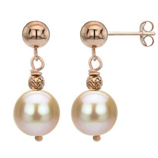 DaVonna 14k Rose Gold Pink Freshwater Pearl Dangle Earrings (8-9 mm)