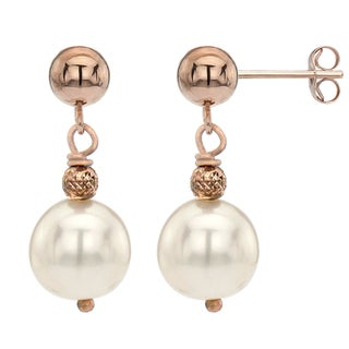 DaVonna 14k Rose Gold White Freshwater Pearl Dangle Earrings (8-9 mm)