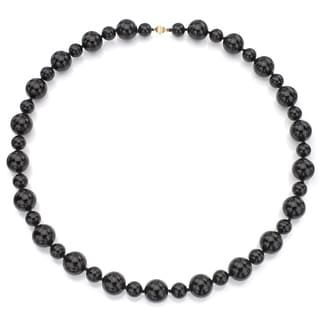DaVonna 14k Yellow Gold Round Black Onyx 28-inch Necklace (12 mm, 18 mm)