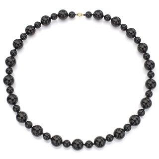 DaVonna 14k Yellow Gold Round Black Onyx 28-inch Necklace (12 mm, 18 mm)