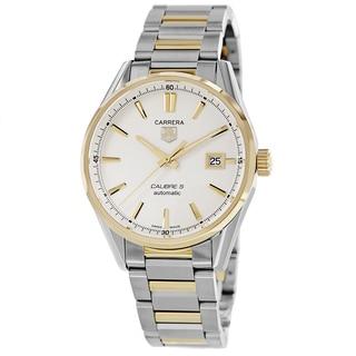 Tag Heuer Men's WAR211B.BD0783 'Carrera' Silver Dial Two Tone Bracelet Automatic Watch
