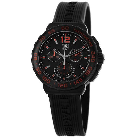 Tag Heuer Men's CAU111D.FT6024 'Formula 1' Black Dial Black Rubber Strap Watch
