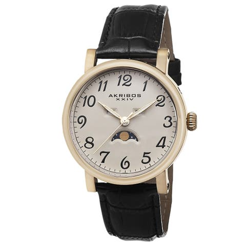 Akribos XXIV Men's Quartz AM/PM Indicator Leather Gold-Tone Strap Watch