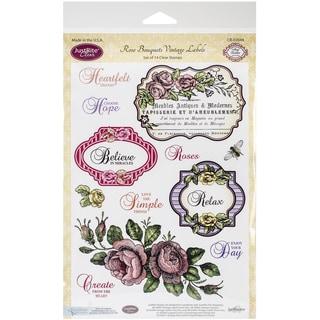 """JustRite Papercraft Clear Stamp Set 6""""X8""""-Rose Bouquet Vintage Labels Seven 14pc"""