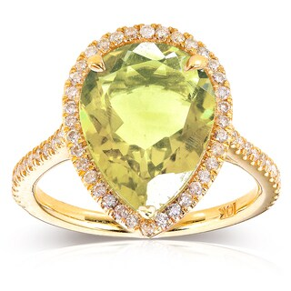 Annello by Kobelli 10k Yellow Gold Pear-shape Lime Quartz and 1/3ct TDW Diamond Halo Ring