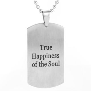 Men's Brushed Stainless Steel 'True Happiness of the Soul' Dog Tag Pendant Necklace