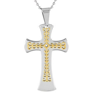 Men's Goldplated Stainless Steel Cubic Zirconia Layer Cross Pendant Necklace