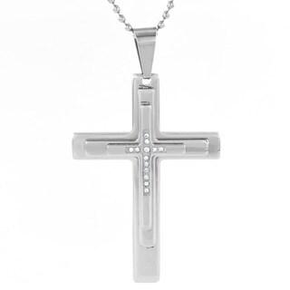 Men's Stainless Steel Cubic Zirconia Layer Cross