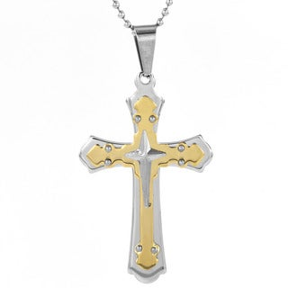 Men's Goldplated Stainless Steel Triple Layer Cross Pendant Necklace