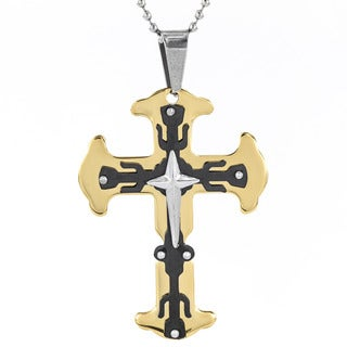 Men's Black and Goldplated Stainless Steel Triple Layer Flare Cross Pendant Necklace