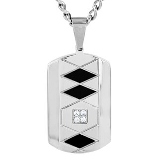 Crucible Stainless Steel Grooved Two-tone Cubic Zirconia Dog Tag Pendant Necklace